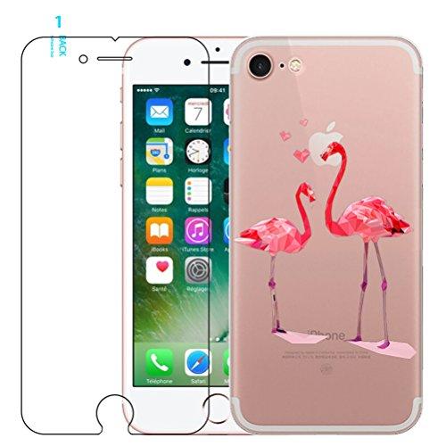 iPhone 6/6s Flamant rose Coque en silicone avec protection d'écran en verre trempé, Blossom01Ultra mince souple en gel TPU Coque de protection en silicone avec motif de dessin animé pour iPhone 6/6s  #08