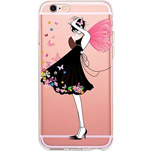 Blitz® GLAMOUR motifs housse de protection transparent TPE caricature bande iPhone Branche avec des fleurs M12 iPhone 8sPLUS Spring Girl M11