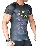 Maglietta da uomo: Spiderman Batman Superman Hulk Captain America maglia a compressione tecnica (Corta Tee Fitness Shirt-s maglietta sportiva funzionale super-hero) (L, Batman schwarz kurzarm)