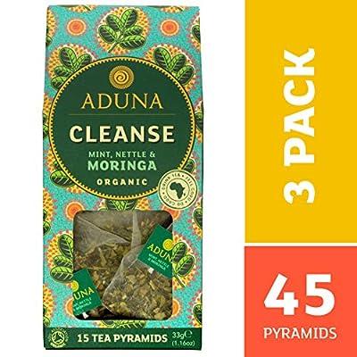 Aduna Cleanse africaine Super-thé avec Moringa bio, menthe et Ortie - 15 soie Pyramide Sachets de thé (pack de 3)