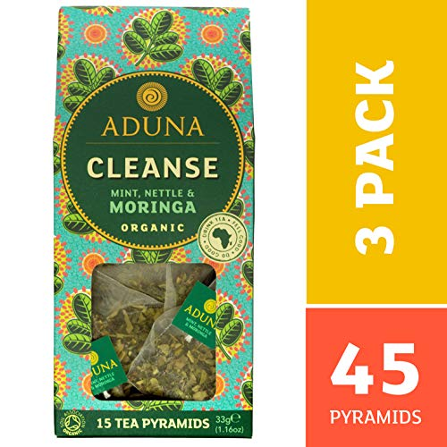 Aduna Cleanse - Super-té organico con Moringa orgánica, menta y ortiga - 15 Pirámides (3 pack)