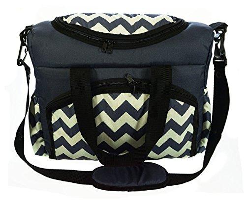 Sac-poussette sac à langer grande capacité pour la poussette un sac de voyage un sac pour les accessoires une mallette de transport motif noir et blanc Zig Zag [059]