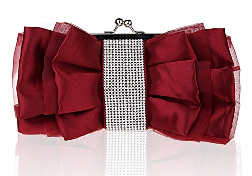 GSHGA Fashion Bow Handtasche Abendtasche Braut Clutch Messenger Umhängetasche,Burgundy -