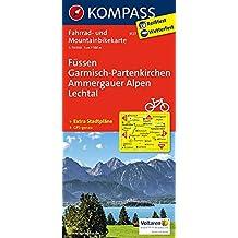 Füssen - Garmisch-Partenkirchen - Ammergauer Alpen - Lechtal: Fahrrad- und Mountainbikekarte. GPS-genau. 1:70000 (KOMPASS-Fahrradkarten Deutschland, Band 3127)