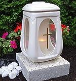 ♥ Grab lampada in ceramica bianco Vetro Croce incl. Base e Grab candela ♥ Tomba luce tomba gioielli Grab A Forma Di Cuore Griglia Angelo Cimitero vaso a forma di cuore vaso Tomba Cuore