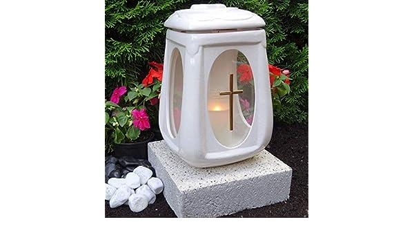 Sépulture céramique verre croix avec socle ♥ Lanterne sépulture Pierre Socle