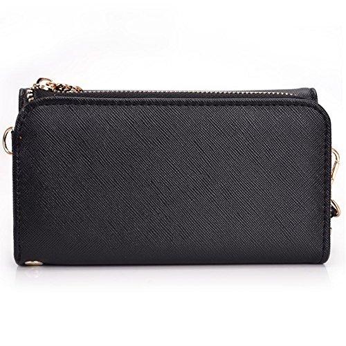 Kroo d'embrayage portefeuille avec dragonne et sangle bandoulière pour Nokia Asha 500Smartphone Noir/rouge Black and Violet