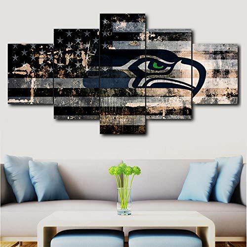 LAKHAFZY 5 Leinwandbilder Rahmen Modernes Wandkunstausgangsdekorationsdruck-Ölgemälde Ohne Seattle Seahawks-Sportlogoplakatausgangsdekor