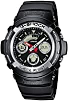 Casio AW-590-1AER G-Shock Men's Quartz Watch with Black Dial Analogue - Digital Display and Black Resin Strap