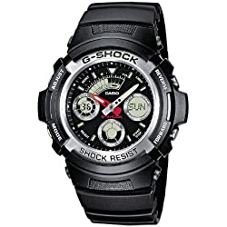 Casio G-Shock Men's Quartz Watch with Black Dial Analogue-Digital Display and Black Resin Strap AW-590-1AER
