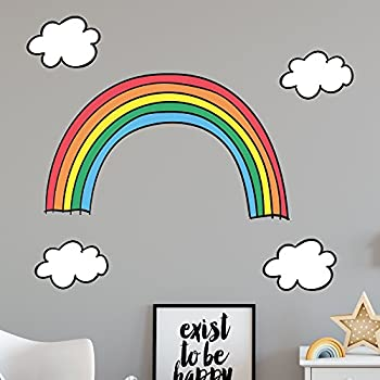 Booizzi rainbow clouds wall sticker decal set cute cartoon style nursery bedroom decoration