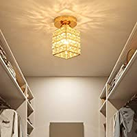 SMAQZ Crystal Ceiling Lamp, Ceiling Lamp, LED Chandelier, Diameter 10 Cm for Bedroom, Dining Room, The Kitchen,Square