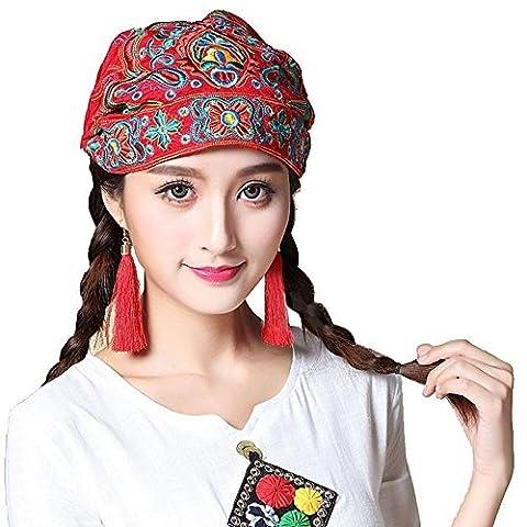Chapeau brodé,Chapeau de élégant Voyage pour femmes Chapeau de maquillage musulman Beanie Cancer Chemo Cap
