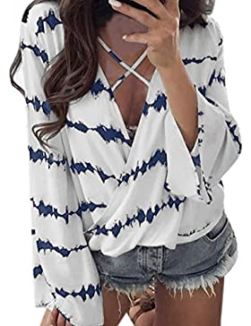 K-youth® Camiseta Para Mujer, Chiffón Camisa de Mujer Manga Larga V-Cuello Patchwork Manga Larga Casual Suelto...