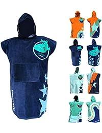 Toalla y Bata de baño – Albornoz con diseños Modernos (4 Colores). Unitalla para niños de 120 cm - 170 cm (Azul Claro)