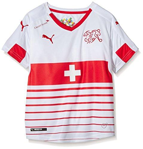 PUMA Kinder Trikot Suisse Away Replica Shirt, White-Red, 176, 748748 02