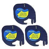 3x schwarz auf gelb 12mm Schriftbänd Kompatibel zu Dymo LetraTag Etikettenband 91222 S0721620 für Etikettendrucker LT-100H lt-100t lt-110t QX 50 XR XM 2000 Plus12mm x 4m