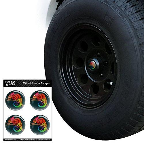 Rainbow Chameleon Tire Rad Center Gap resin-topped Abzeichen Aufkleber–7,6cm (Gorarastein) Durchmesser