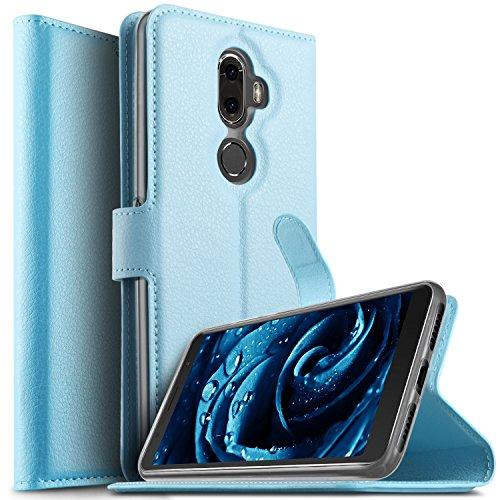 KuGi Alcatel 3V Hülle, Alcatel 3V Wallet Case, Brieftasche Case Hülle PU Kunstleder Flip Case mit Standfunktion Kartenfächer und Bargeld für Alcatel 3V Smartphone.Blau