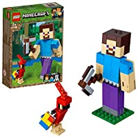 LEGO 21148 Minecraft Steve BigFig Action Figure Parrot Building Set, Toys for Kids 7 Years Old and Older
