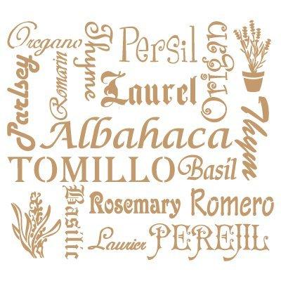 Stencil Deco Vintage Composición Plantas Aromáticas. Medidas aproximadas:Tamaño del stencil 25 x 25(cm) Tamaño de la figura 21 x 19(cm)