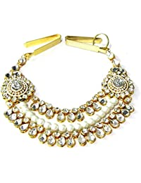 Shree Mauli Creation White Alloy White 2 Side Brooch 3 Line Waist Belt For Women SMCW9