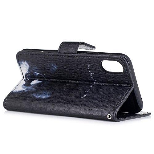 """MOONCASE iPhone X Coque, Durable TPU Wristbands avec Support Protection Étuis Case Built-in Card Slots Flip Cuir Housse pour iPhone X 5.8"""" Owl Go Ahead"""