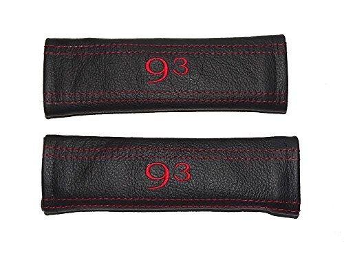 2x cintura di sicurezza coperture pastiglie nero in pelle ricamo a punto rosso 93