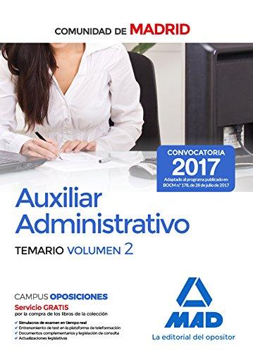 Descargar AUXILIAR ADMINISTRATIVO DE LA COMUNIDAD DE MADRID  TEMARIO (VOL  2)