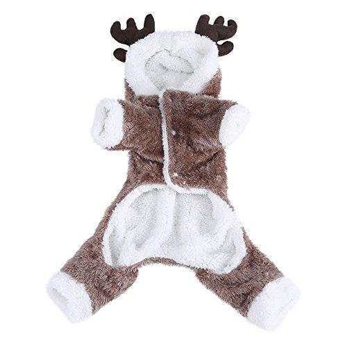 Pudding Zu Kostüm - Haustierkostüm für Hunde und Katzen, Winterjacke, warm, mit süßem Elch-Kleidung, doppelt verdickter Samt