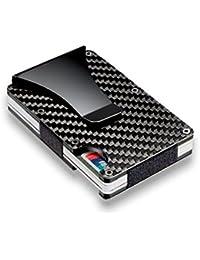 Cartera de fibra de carbono Protección RFID Durable Cardholder Money Clip Mini Multifunción