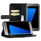 EasyAcc Samsung Galaxy S7 Edge Hülle Lederhülle Tasche Handyhülle mit Standfunktion Card Holder Kunstleder Schwarz