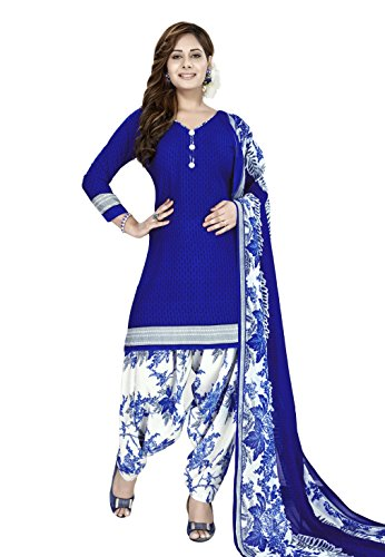 women's printed unstitched Patiala crepe dress material salwar kameez kurta punjabi suit