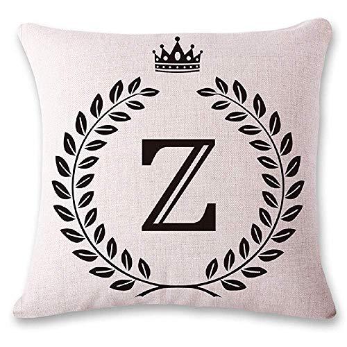 LarissaHi Alphabet Series AZ Crown Oliven und Lorbeer Dekokissenbezüge für zu Hause Indoor Friendly Komfortable Kissen Standardgröße 45 x 45 cm - Alphabet Olive