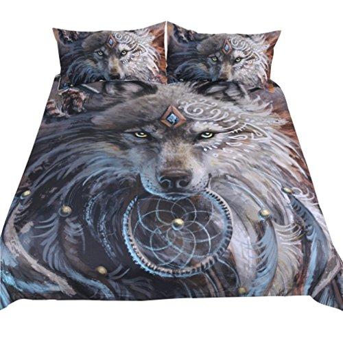 CHSYPB Moonlight Wolf bettbezug Paket doppelbett 3D Tier Druck Daunendecke Abdeckung Bettwäsche-Sets Kissen Fall Multicolor Polyester, B (Bettwäsche-daunendecke-abdeckung)