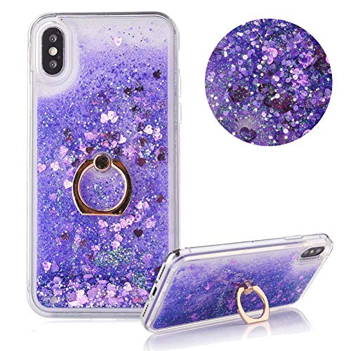 Hart Hülle für iPhone XR,Diamant Flüssigkeit Handyhülle für iPhone XR,Moiky Luxuriös Süß 3D Lila Liebe Herzen Kristall Glitzer PC Klar Rückseite Hülle mit 360 Grad Ständer Ring Halterung