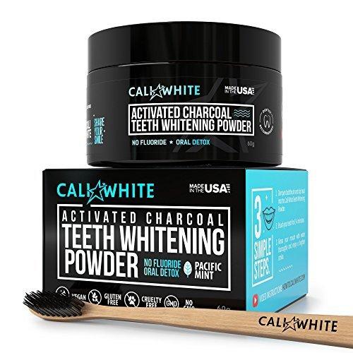 Cali White Aktivierte Holzkohle Zahnweiß-Pulver bündeln Kit - Vegan & alle natürlichen, für den sensiblen Lächeln, besser als Streifen, Gel & Zahnpasta + Bonus Bambus Binchotan Zahnbürste -