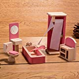 HorBous Jouet en Bois Miniature Ensemble de Meubles pour Poupee Mobilier de Maison de Poupee (Salle de Bain)