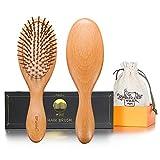 BFWood Brosse à cheveux en bois pour massage du cuir chevelu – poignée...