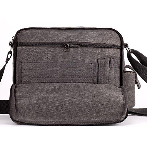Outreo Borse a Tracolla Uomo Borsello di Tela Borsa a Spalla Vintage Messenger Bag Canvas Sacchetto di Libro per Scuola Università Tablet Tasche da Viaggio Outdoor Sport Tasca Grigio