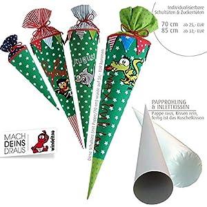 Schultüte, Zuckertüte in 70 cm oder 85 cm, grün große Sterne inklusive Papprohling mit vielen Personalisierungsmöglicheiten, als Kuschelkissen weiter nutzbar