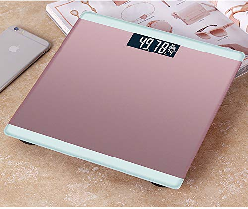 YHML High-Precision Digital Weight Bathroom Scale, Accurate Adult Health Wiey-to-Read Backlit LCD, 180KG,Pink