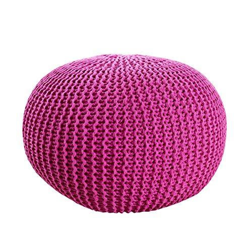 Design Pouf LEEDS 50 cm pink Bezug aus Strick Garn Sitzgelegenheit Fußhocker Sitzpouf gepolstert Sitzkissen