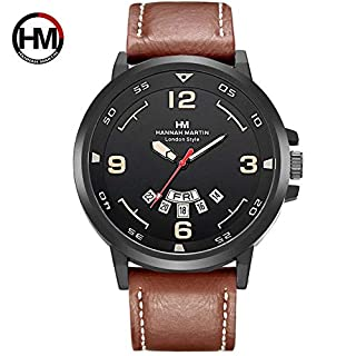 PETUNIA Man Watch with Calendar Function Hannah Martin Casual Sports Quartz Wristwatch - Brown Leather Strap Yellow Fac