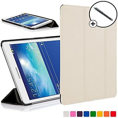 Forefront Cases® Samsung Galaxy Tab 3 Lite 7.0 SM-T110 Funda Carcasa Stand Smart Case Cover Protectora Plegable de Cuero – Función automática inteligente de Suspensión/Encendido + Lápiz óptico