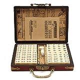 Blue-Yan Ensemble de Mahjong Chinois avec étui en Cuir archaïsant, Travel Mahjong Portable Mah-jongg