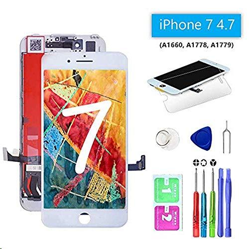 KEPAI Kompatible für iphone 7 Display Weiß, LCD Touchscreen Ersatz Komplettset mit Werkzeugen für iphone 7 Bildschirm 4.7 Zoll (Weiß) -