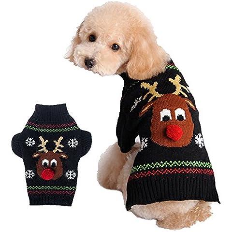 TANG imp Nero Cucciolo Cane Teddy Natale Alce Maglia Maglione Vestiti Pet Cane Caldo Sweater Cappotto Felpe Costume XXS