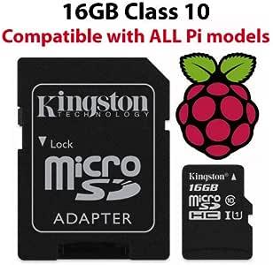 Raspberry Pi Carte Micro SD 16Go Noobs Officiel–Noir