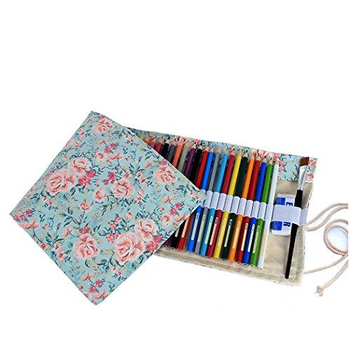 Amoyie Canvas Faltbare Stifterolle für 48 Buntstifte und Bleistifte, Roll-up Mäppchen für...